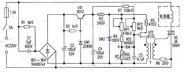 Circuit diagram of adjustable thermostat controller